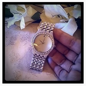 Vintage Unisex Crystal Bezel Watch